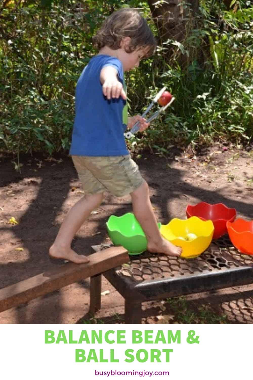 Balance beam outdoor activity