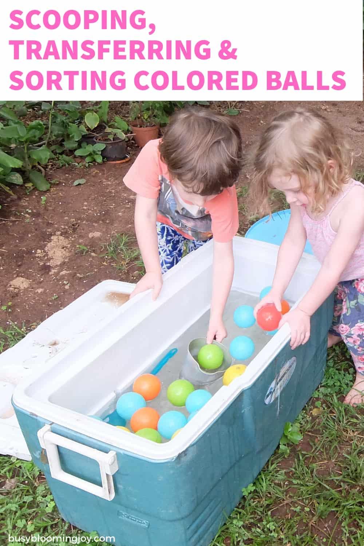 balls and water - outdoor activity for preschoolers