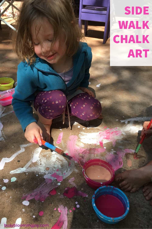 sidewalk chalk art - fun outdoor activity for preschoolers