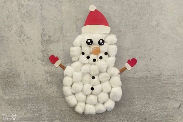 Cotton ball snowman craft for toddlers