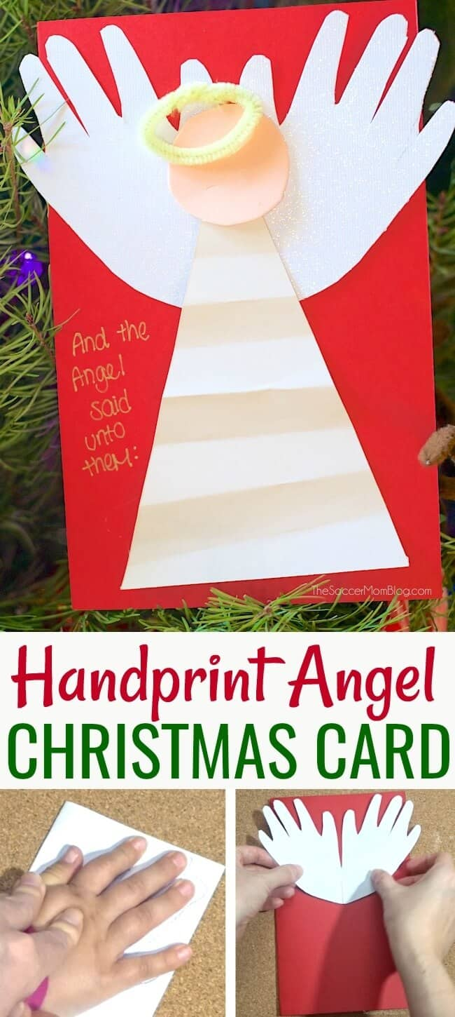 Handprint angel Christmas craft or card toddler craft