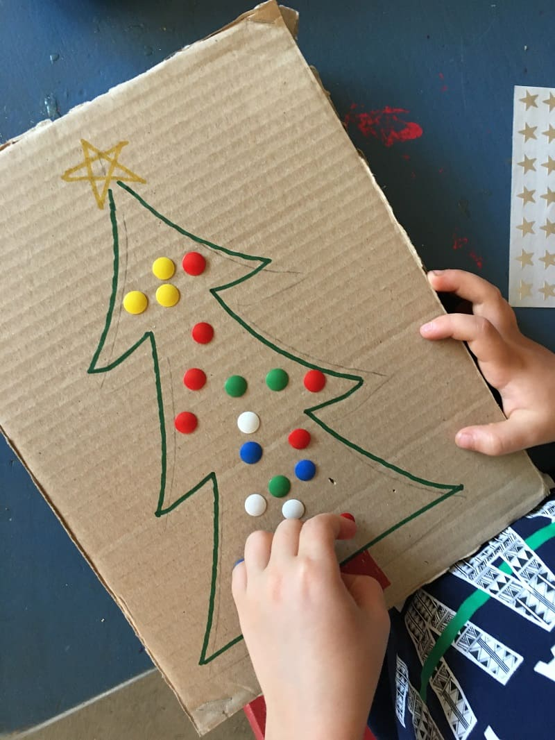 Pushpin Christmas tree decorating activity for toddlers