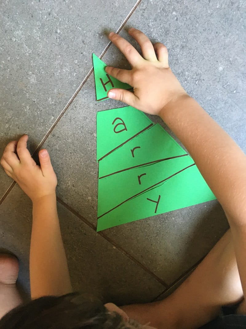 Christmas tree name puzzle activity for toddlers and preschoolers