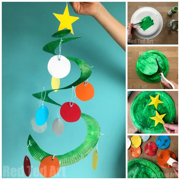 Paper plate Christmas tree craft for toddlers