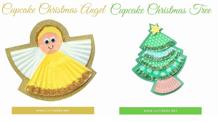 Cupcake liner crafts for toddler Christmas craft