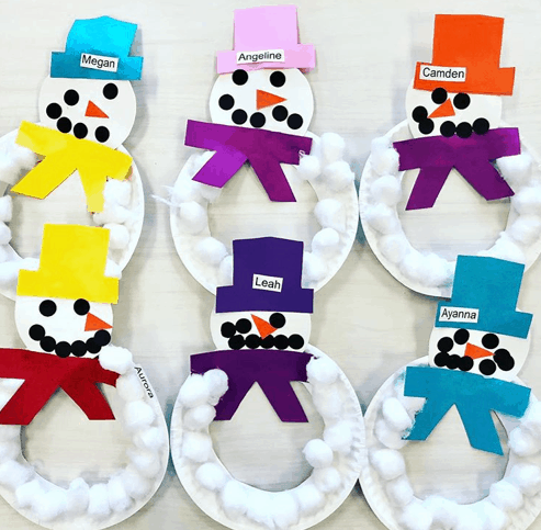 mrs.prek3 easy snowman Christmas craft for toddlers