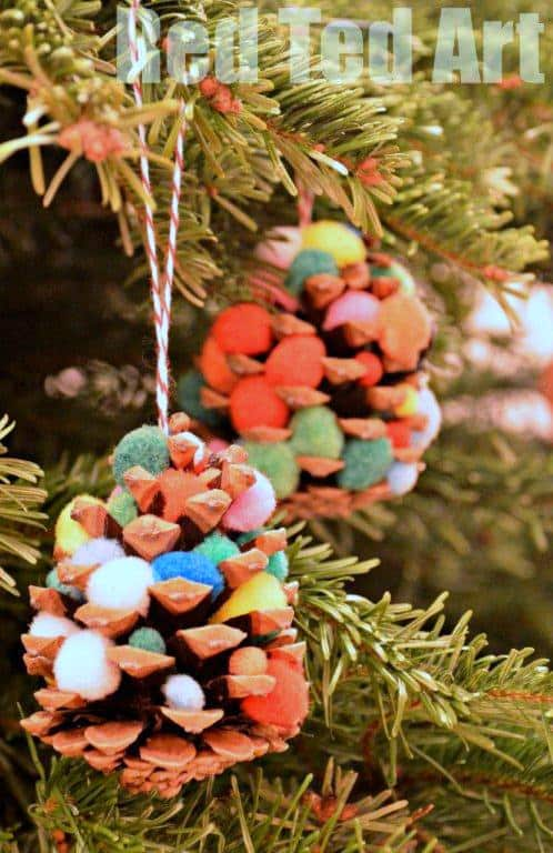 Pompom pinecone trees Christmas toddler craft