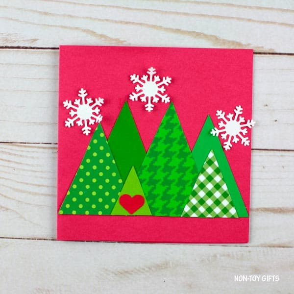 Triangle trees Christmas card toddler craft