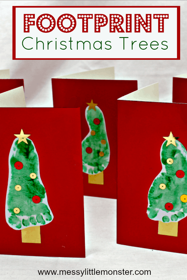 Footprint Christmas tree card for toddlers