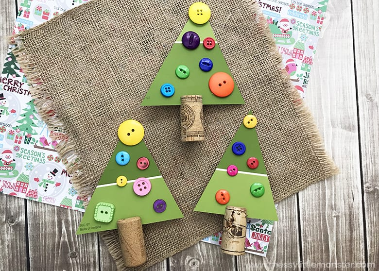 Paint chip Christmas tree craft for toddlers