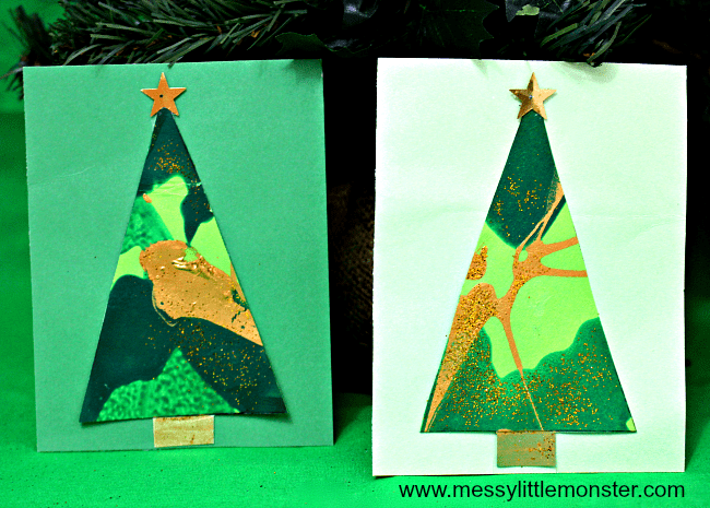 Spin art Christmas tree card for toddlers from Messy Little Monster