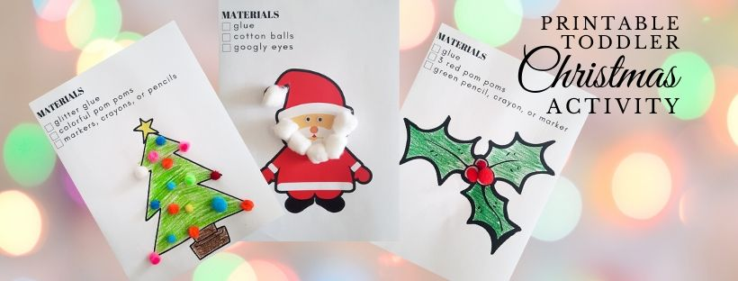 color and stick Christmas activity for toddlers