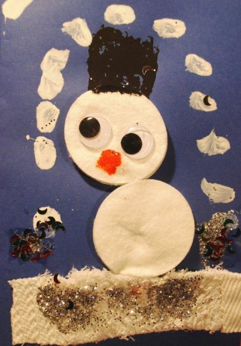 Snowman Christmas card toddler craft