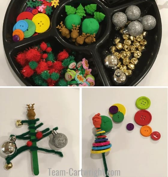 Tinker tray Christmas activity for preschoolers from Team-Cartwright