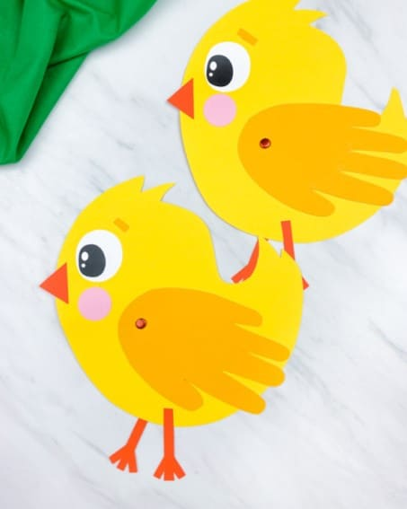 Easter chick handprint craft from Simple Everyday Mom