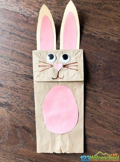 Easter bunny paper bag craft for toddlers from 123 Homeschool 4 Me