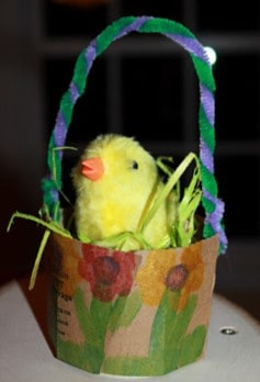 Coffee cup Easter basket craft for toddlers from Green Owl Art