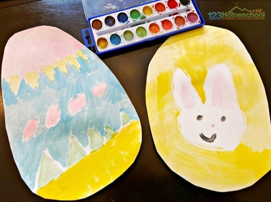Water resist Easter egg craft from 123 Homeschool For Me for preschoolers