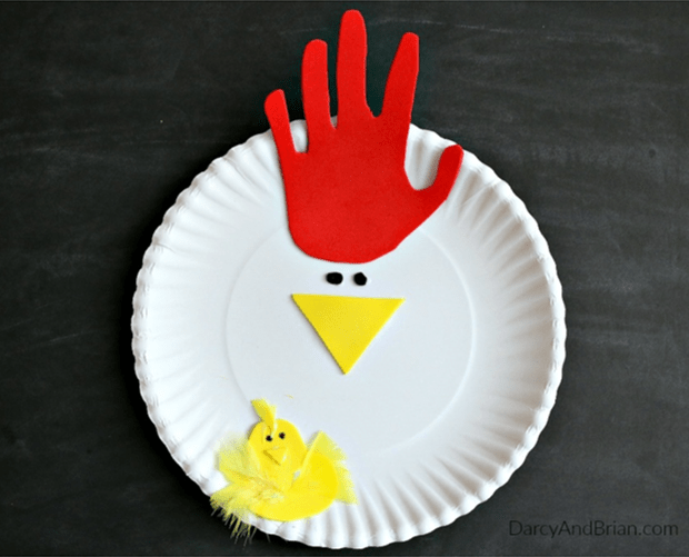 Handprint paper plate chicken and Easter chick from Darcy and Brian