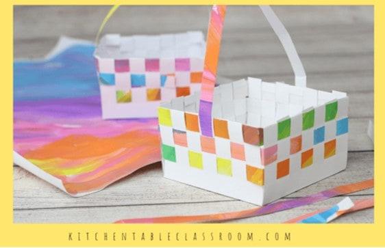 Woven Easter basket preschooler craft from Kitchen Table Classroom