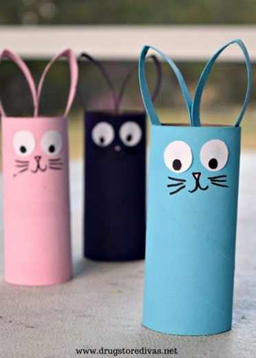 Toilet roll Easter bunny craft from Drug Store Divas