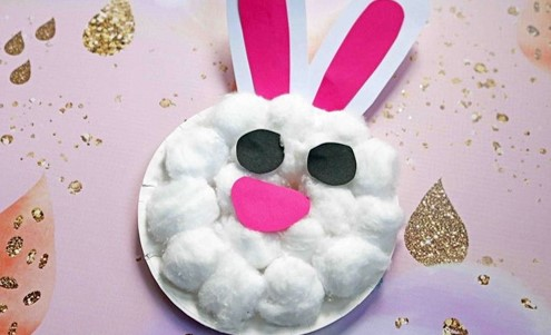 Cotton wool paper plate toddler Easter bunny craft from @ms__amanda__b