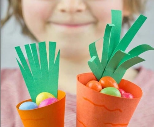 Carrot cone Easter basket craft for toddlers