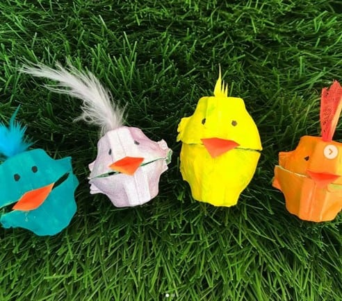 Eggbox hens and chick craft from @createaparty3