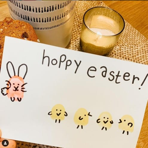 Fingerprint Easter bunny and chick card