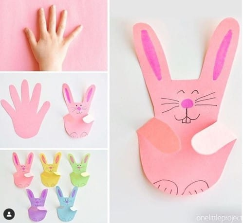 Handprint Easter bunny craft from @monkeymccoy