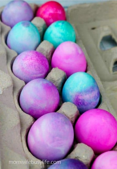 Whipped cream dyed easter eggs from Mom Wife Busy Life