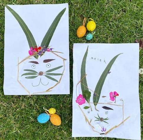 Easter bunny nature collage from @laurens_lil_learners