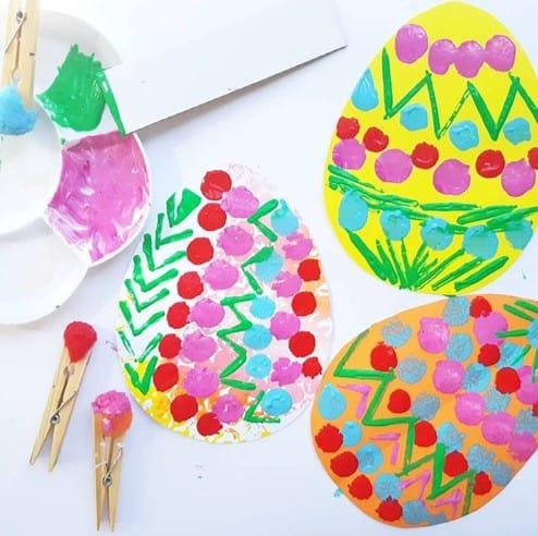 Pompom painted Easter egg craft