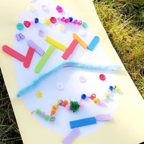 Loose parts Easter egg craft and collage from @