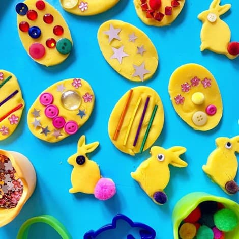 Play dough (or saltdough) decorated Easter eggs from @babybrightstars