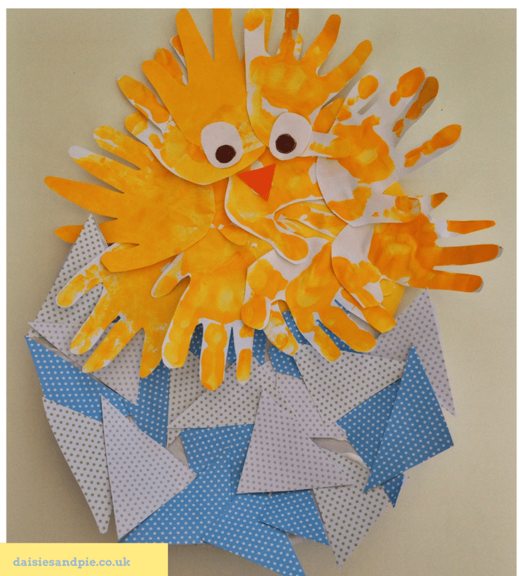 Handprint Easter chick craft from Daisies And Pie