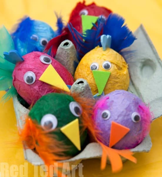 Tissue paper decorated Easter egg craft for preschoolers