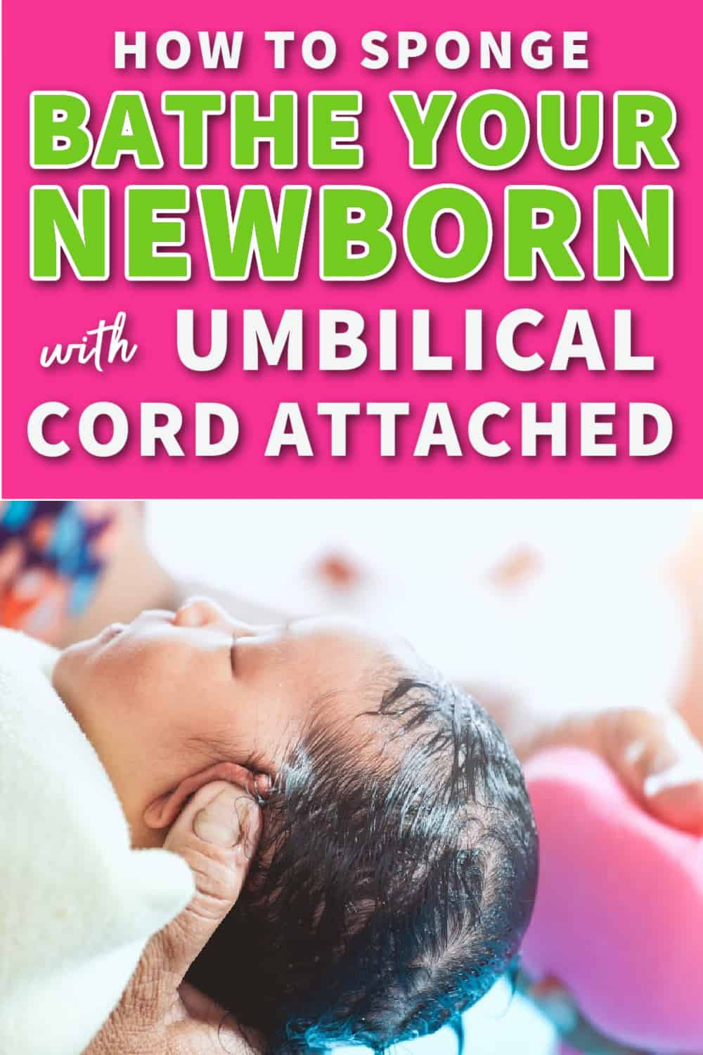 sponge bathe newborn with umbilical cord attached pin image