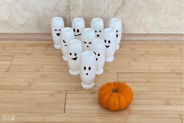 toddler halloween party ideas - 10 pin pumpkin bowling